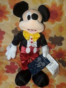 walt disney mickey mouse tuxedo plush disneyland paris plush tagged rare - new