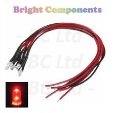 5 x Pre-Wired Red LED 3mm Ultra Bright : 9V ~ 12V : 1st CLASS POST