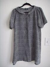 TRACY Black White Chiffon Button Check Plaid Semi Sheer Shirt Shift Dress S 4 6