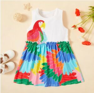 size 18-24m to 5 years new girls dress colourful parrot print cotton girls dress