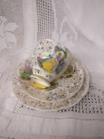 Garden House Bone China Trio Creole Lady Cup, Saucer & Side Plate