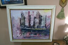 SIGNED MORRIS KATZ 2000 ORIGINAL OIL ON MASONITE PANEL HARBOR  PAINTING FRAMED