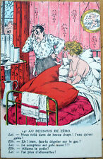 1920 Risque French Postcard: Nude/Topless Woman in Bed, Frustrated Man