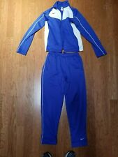 NIKE BLUE AND WHITE HEAVYWEIGHT TRACKSUIT JACKET AND PANTS SET/OUTFIT SIZE XS
