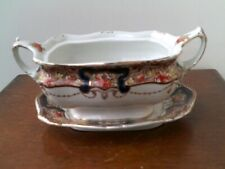 Vintage Edwardian Johnson Brothers Vegetable Tureen & Under-Plate With Gold Embo