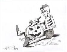 SPOOKY PUPPET PUMPKIN CARVER! New Original Ink Drawing by Mike Hoffman!