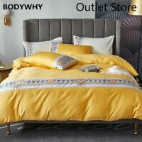 European Style Silk  Bedding Set Silky  Duvet Cover Set Bed Set Soft Flat Sheet