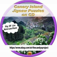 Canary Island JigSaw Puzzles 100 Computer Rotating Beach Scenery on CD