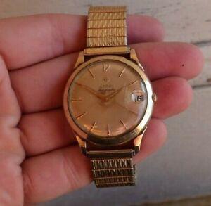 RARE Vintage Men's Zodiac Wind Up Watch Wristwatch Datographic Swiss Working NR