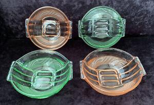 Set Of 4 Art Deco Stolze Pressed Glass Dessert Bowls In Pink & Green