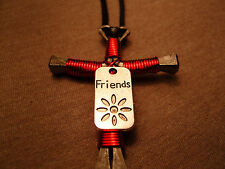 Red Handmade Disciples Cross Necklace with Friends charm