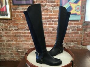 Franco Sarto Mast Navy Blue Leather Buckle OTK Over the Knee Boots 6 NEW