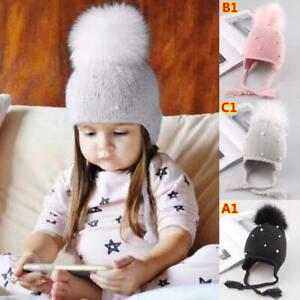 Baby Girls Pearl Braid Beanie Hat Winter Warm Knit Fur Pom Bobble Baby Hat Cap