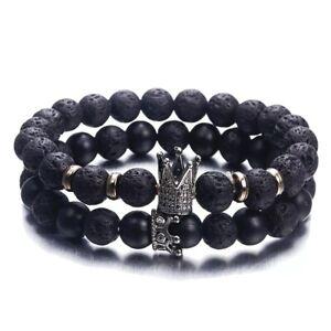 Lava Stone Bead Bracelet Metal Crown Mens Womens Fashion Gift 2pcs