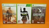 3 COD Games XBOX 360 Complete Call of Duty Trilogy Modern Warfare 1 2 3 Tested