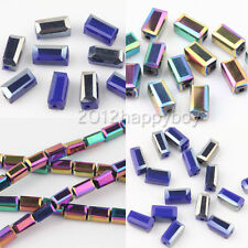 20/40Pcs Faceted Rectangle Colorful Plated Spacer Beads 6x3mm Charms Findings