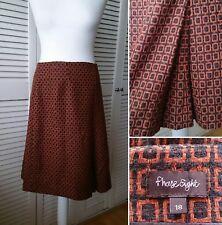 Phase Eight Retro Geometric Print Wool Mix Winter Skirt Size 18 Warm Cosy