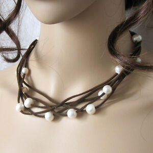 """18"""" 9-11mm 5Row White Freshwater Pearl Necklace Coffee Suede Rope UE"""