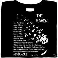 The Raven by Edgar Allan Poe, Raven T Shirt, graphic, 100% Cotton, Short Sleeve