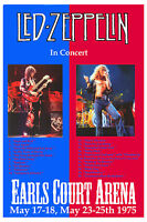 ROCK: Robert Plant, Jimmy Page Led Zeppelin at Earls Court Concert Poster 1975