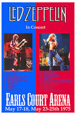Robert Plant, Jimmy Page Led Zeppelin at Earls Court Arena Poster 1975 12x18