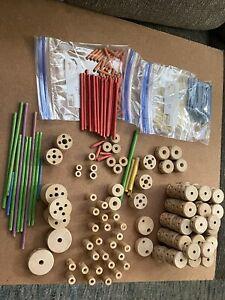 TINKERTOY Construction Set Vintage Wooden Builder Tinker Toys 415 plus Pieces