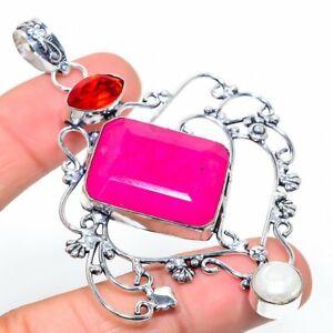 "Kashmiri Red Ruby, Garnet Gemstone 925 Sterling Silver Jewelry Pendant 3.19"""