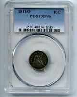 1841-O Seated Liberty Dime PCGS XF40 Cert# 35618615