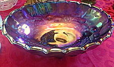 Vintage Indiana Harvest Grape Blue Iridescent Carnival Glass Oblong Fruit Bowl