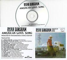 RYAN BINGHAM American Love Song 2019 UK 15-trk promo test CD + press release