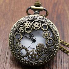 BRONZE Brass Vintage Styling Steampunk Engraved Pocket Fob Watch & Chain