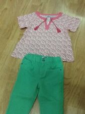Baby Girls Size 5-6 Years Green Jean Pants & Pink Flowered Top - Brand New