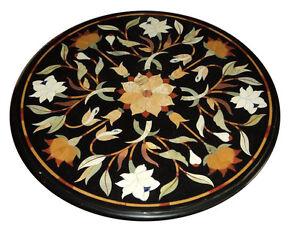 "24"" Black Marble Coffee Table Top Pietra Dura Floral Inlay Handmade Art"