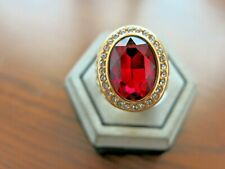 Ring Red Stone Vintage Men Bronze Dragon naga Diamond Charm sz 11 Square Huge