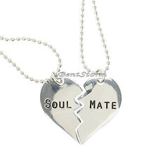 Soul Mate Broken Heart Best Friends BFF Besties 2 PK Necklace Set LoveSick NEW