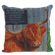Kitchy and Co A28923 Meadow Barn Highland Cow Cushion