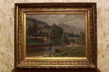 Quadro dipinto a olio su tela di fine '800 raffigurante paesaggio con cornice