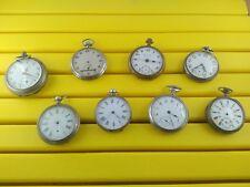 Lot de 08 montres à gousset anciennes en argent et divers pour pièces