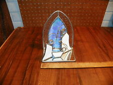 Vintage Hand Made Leaded Stained Glass Christmas Nativity Scene                !