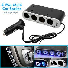 4 Way Multi Socket Car Cigarette Lighter Splitter USB Plug Charger DC 12V/24V UK