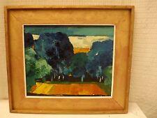 Max ZOLLIKOFER, Suisse. Paysage 1964. Tableau signé  HsP 38x46 cadre 54x62 cm