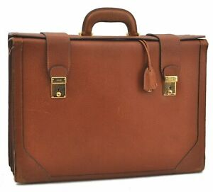 Authentic GUCCI Brief Case Leather Brown B0916