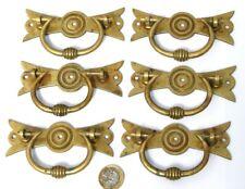 SPLENDID SET 6 X ANTIQUE ARTS &CRAFTS BRASS PULL HANDLES CHEST OF DRAWERS GOTHIC