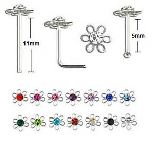 Nose Stud 925 Silver - Flower - Thin 0.6mm - Bend Yourself, Straight or L Shape