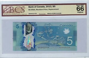 Bank of Canada 2013 $5 Replacement Note HBH - BC-69bA - BCS Gem UNC 66