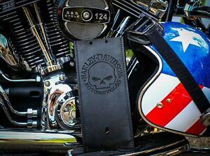 Black Leather Gas Tank Panel Bib Retro Skull Fits Harley Davidson Softail Dyna