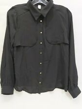 Women's Black Chiffon Dress Shirt Bronze Colored Buttons Business Casual S/M