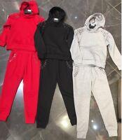 GIRLS NEW 2 PCS STUD DESIGN TRACKSUIT HOODIE JACKET OUTFIT CLOTHING JOG SUIT SET