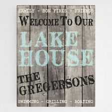 Wood Lake House Personalized Sign Canvas Wall Art Sign House Warming Home Decor