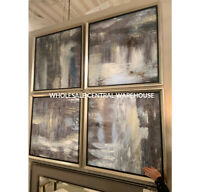 "FOUR SHADES OF GRAY HAND PAINTED CANVASES XXL 33"" ABSTRACT PAINTING WALL ART"